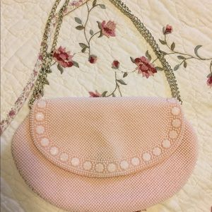 Vintage Pink Beaded Clutch Handbag Hong Kong